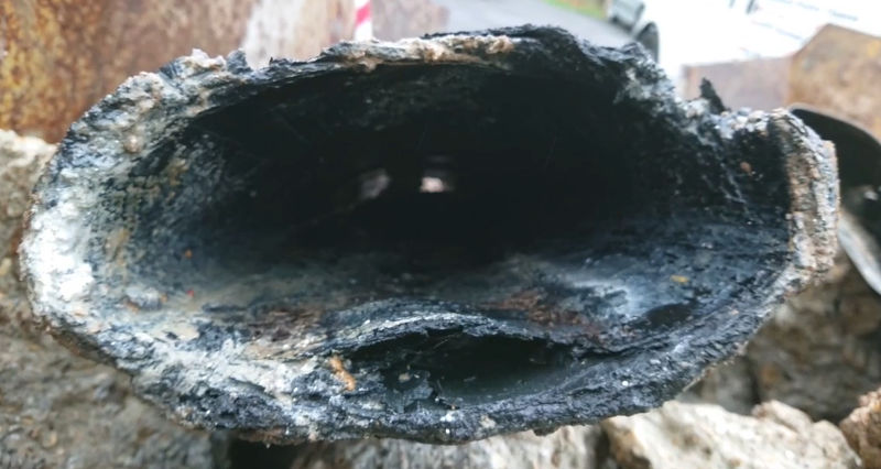 A deformed pitch fibre pipe from a property in Croydon, South London
